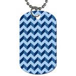 Tiffany Blue Modern Retro Chevron Patchwork Pattern Dog Tag (Two-sided)  Back