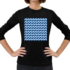 Tiffany Blue Modern Retro Chevron Patchwork Pattern Women s Long Sleeve T Shirt (dark Colored) by creativemom