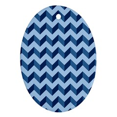 Tiffany Blue Modern Retro Chevron Patchwork Pattern Oval Ornament (two Sides) by creativemom