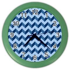 Tiffany Blue Modern Retro Chevron Patchwork Pattern Wall Clock (color) by creativemom
