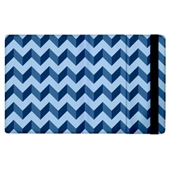 Tiffany Blue Modern Retro Chevron Patchwork Pattern Apple Ipad 3/4 Flip Case by creativemom