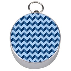 Tiffany Blue Modern Retro Chevron Patchwork Pattern Silver Compass by creativemom