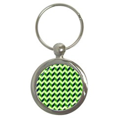 Green Modern Retro Chevron Patchwork Pattern Key Chain (round) by creativemom