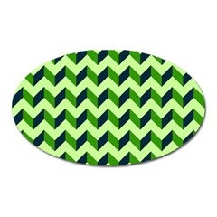 Green Modern Retro Chevron Patchwork Pattern Magnet (oval) by creativemom