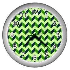 Green Modern Retro Chevron Patchwork Pattern Wall Clock (silver) by creativemom