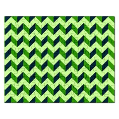 Green Modern Retro Chevron Patchwork Pattern Jigsaw Puzzle (rectangle) by creativemom
