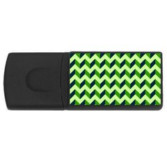Green Modern Retro Chevron Patchwork Pattern 4gb Usb Flash Drive (rectangle) by creativemom