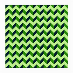 Green Modern Retro Chevron Patchwork Pattern Glasses Cloth (medium, Two Sided) by creativemom