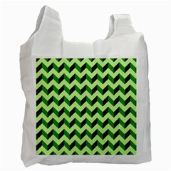 Green Modern Retro Chevron Patchwork Pattern White Reusable Bag (one Side) by creativemom
