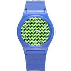 Green Modern Retro Chevron Patchwork Pattern Plastic Sport Watch (small) by creativemom