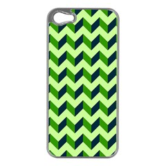 Green Modern Retro Chevron Patchwork Pattern Apple Iphone 5 Case (silver) by creativemom