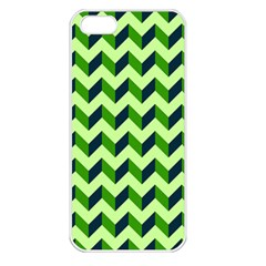 Green Modern Retro Chevron Patchwork Pattern Apple Iphone 5 Seamless Case (white) by creativemom