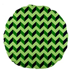 Green Modern Retro Chevron Patchwork Pattern 18  Premium Round Cushion  by creativemom