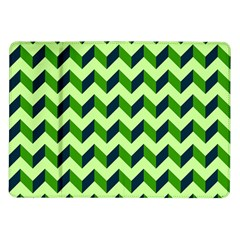 Green Modern Retro Chevron Patchwork Pattern Samsung Galaxy Tab 10 1  P7500 Flip Case by creativemom