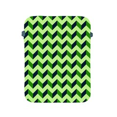 Green Modern Retro Chevron Patchwork Pattern Apple Ipad Protective Sleeve by creativemom