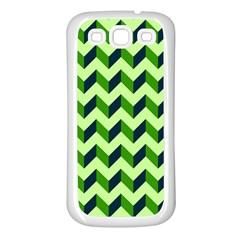 Green Modern Retro Chevron Patchwork Pattern Samsung Galaxy S3 Back Case (white) by creativemom