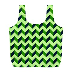 Green Modern Retro Chevron Patchwork Pattern Reusable Bag (l) by creativemom