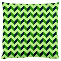 Green Modern Retro Chevron Patchwork Pattern Large Flano Cushion Case (two Sides)