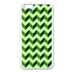 Green Modern Retro Chevron Patchwork Pattern Apple Iphone 6 Plus Enamel White Case