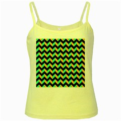 Neon and Black Modern Retro Chevron Patchwork Pattern Yellow Spaghetti Tank by creativemom
