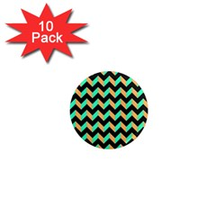 Neon And Black Modern Retro Chevron Patchwork Pattern 1  Mini Button Magnet (10 Pack) by creativemom