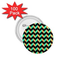 Neon And Black Modern Retro Chevron Patchwork Pattern 1 75  Button (100 Pack) by creativemom