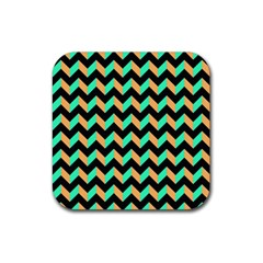 Neon And Black Modern Retro Chevron Patchwork Pattern Drink Coaster (square) by creativemom