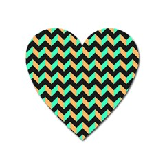 Neon And Black Modern Retro Chevron Patchwork Pattern Magnet (heart) by creativemom