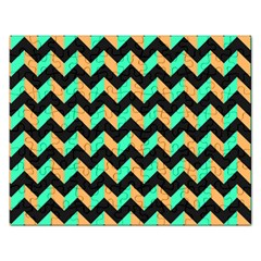 Neon and Black Modern Retro Chevron Patchwork Pattern Jigsaw Puzzle (Rectangle) by creativemom