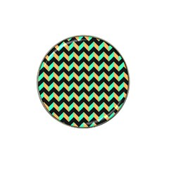 Neon And Black Modern Retro Chevron Patchwork Pattern Golf Ball Marker 4 Pack (for Hat Clip) by creativemom