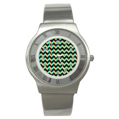 Neon And Black Modern Retro Chevron Patchwork Pattern Stainless Steel Watch (slim) by creativemom