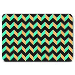 Neon And Black Modern Retro Chevron Patchwork Pattern Large Door Mat by creativemom