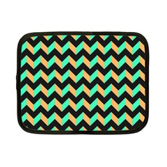 Neon And Black Modern Retro Chevron Patchwork Pattern Netbook Sleeve (small) by creativemom