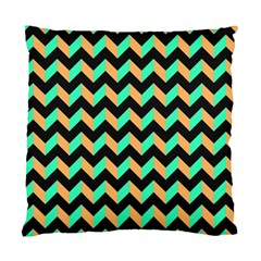 Neon And Black Modern Retro Chevron Patchwork Pattern Cushion Case (two Sided)  by creativemom