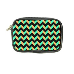 Neon And Black Modern Retro Chevron Patchwork Pattern Coin Purse