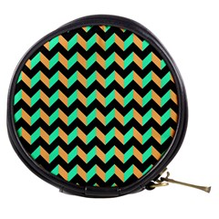 Neon And Black Modern Retro Chevron Patchwork Pattern Mini Makeup Case by creativemom