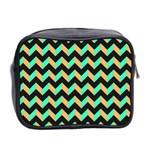 Neon and Black Modern Retro Chevron Patchwork Pattern Mini Travel Toiletry Bag (Two Sides) Back