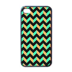 Neon And Black Modern Retro Chevron Patchwork Pattern Apple Iphone 4 Case (black) by creativemom