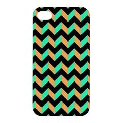 Neon And Black Modern Retro Chevron Patchwork Pattern Apple Iphone 4/4s Premium Hardshell Case by creativemom