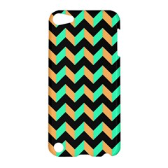 Neon And Black Modern Retro Chevron Patchwork Pattern Apple Ipod Touch 5 Hardshell Case by creativemom