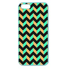 Neon And Black Modern Retro Chevron Patchwork Pattern Apple Seamless Iphone 5 Case (color) by creativemom