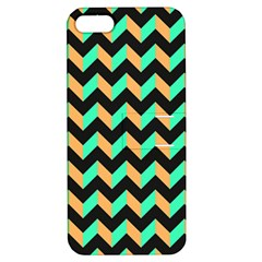 Neon And Black Modern Retro Chevron Patchwork Pattern Apple Iphone 5 Hardshell Case With Stand by creativemom