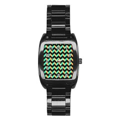 Neon And Black Modern Retro Chevron Patchwork Pattern Stainless Steel Barrel Watch by creativemom
