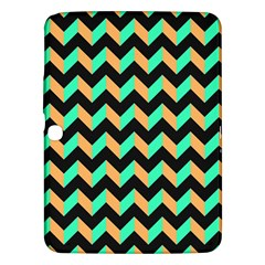 Neon And Black Modern Retro Chevron Patchwork Pattern Samsung Galaxy Tab 3 (10 1 ) P5200 Hardshell Case  by creativemom
