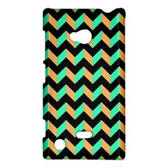 Neon And Black Modern Retro Chevron Patchwork Pattern Nokia Lumia 720 Hardshell Case by creativemom