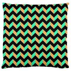Neon And Black Modern Retro Chevron Patchwork Pattern Standard Flano Cushion Case (two Sides) by creativemom