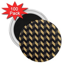 Tan Gray Modern Retro Chevron Patchwork Pattern 2 25  Button Magnet (100 Pack) by creativemom