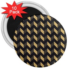 Tan Gray Modern Retro Chevron Patchwork Pattern 3  Button Magnet (10 Pack) by creativemom