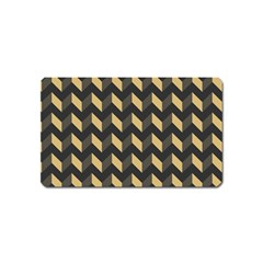 Tan Gray Modern Retro Chevron Patchwork Pattern Magnet (name Card) by creativemom