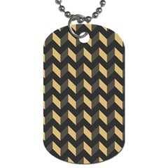 Tan Gray Modern Retro Chevron Patchwork Pattern Dog Tag (two Sided)  by creativemom
